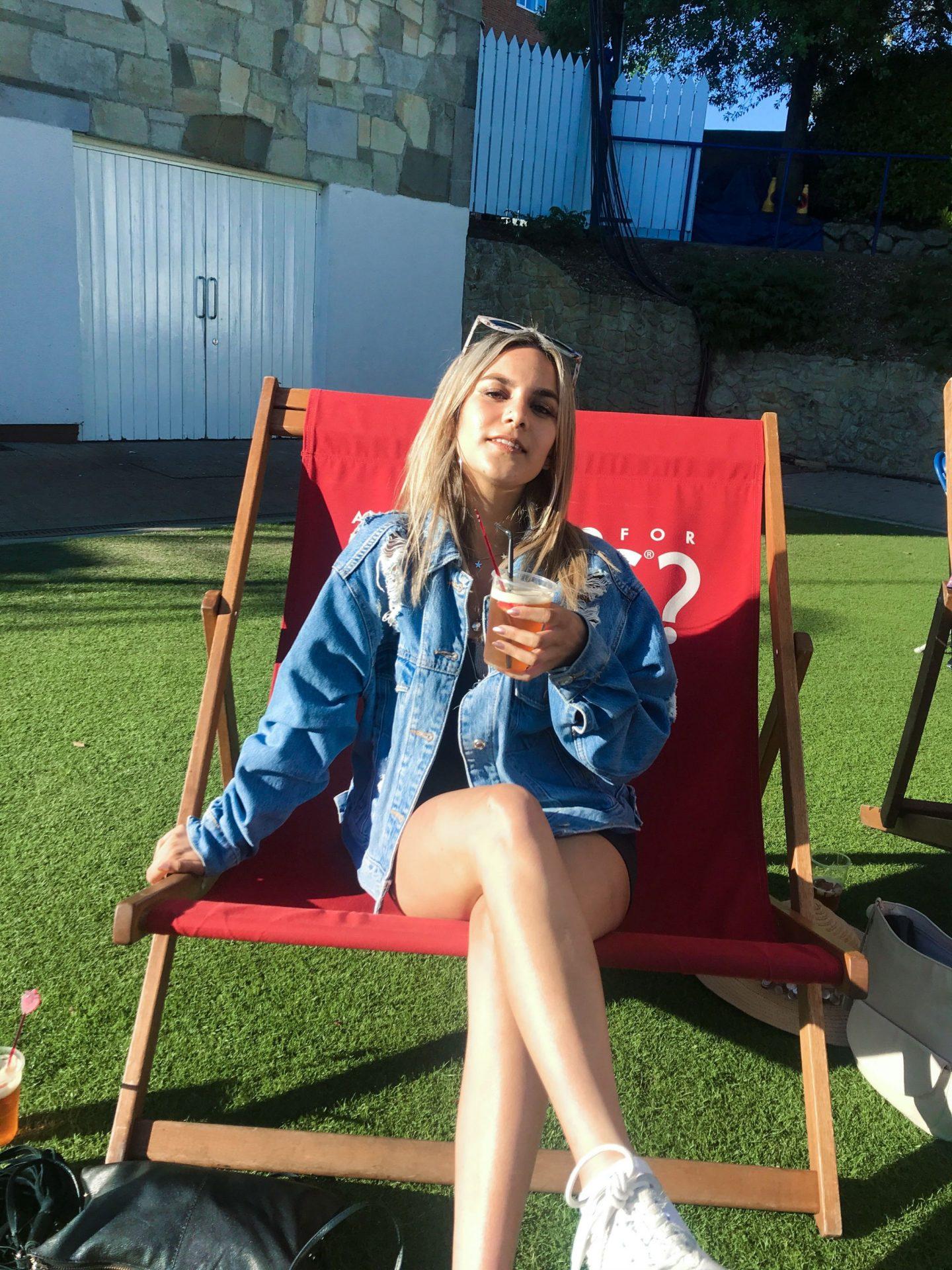 yasmin stefanie wimbledon nature valley international eastbourne topshop denim jacket urban outfitters little black dress
