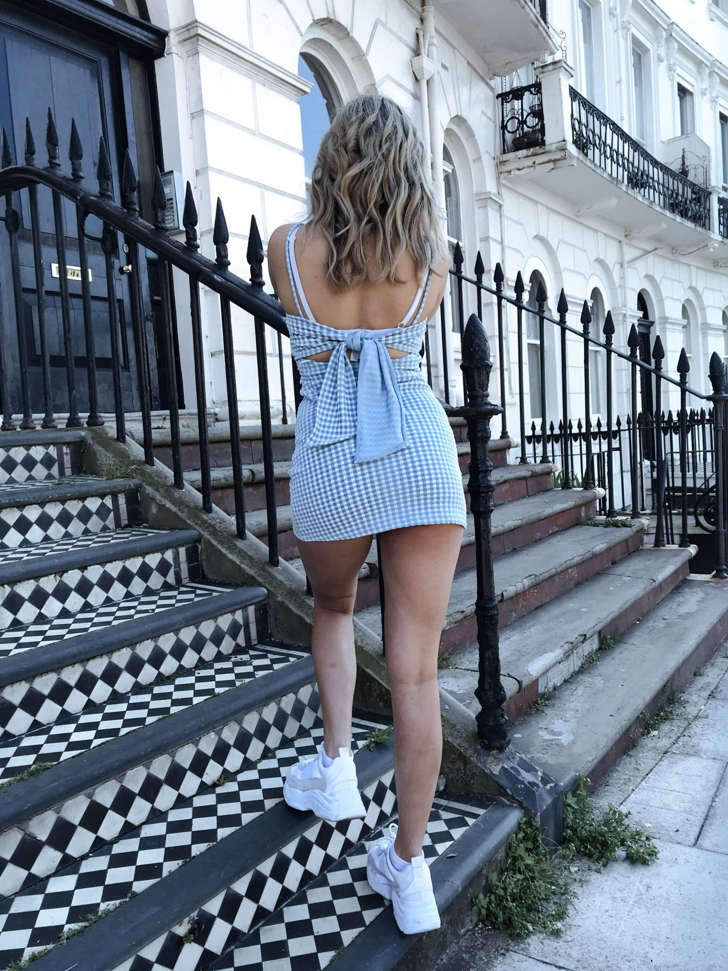 yasmin stefanie topshop gingham summer dress ciara chunky trainers
