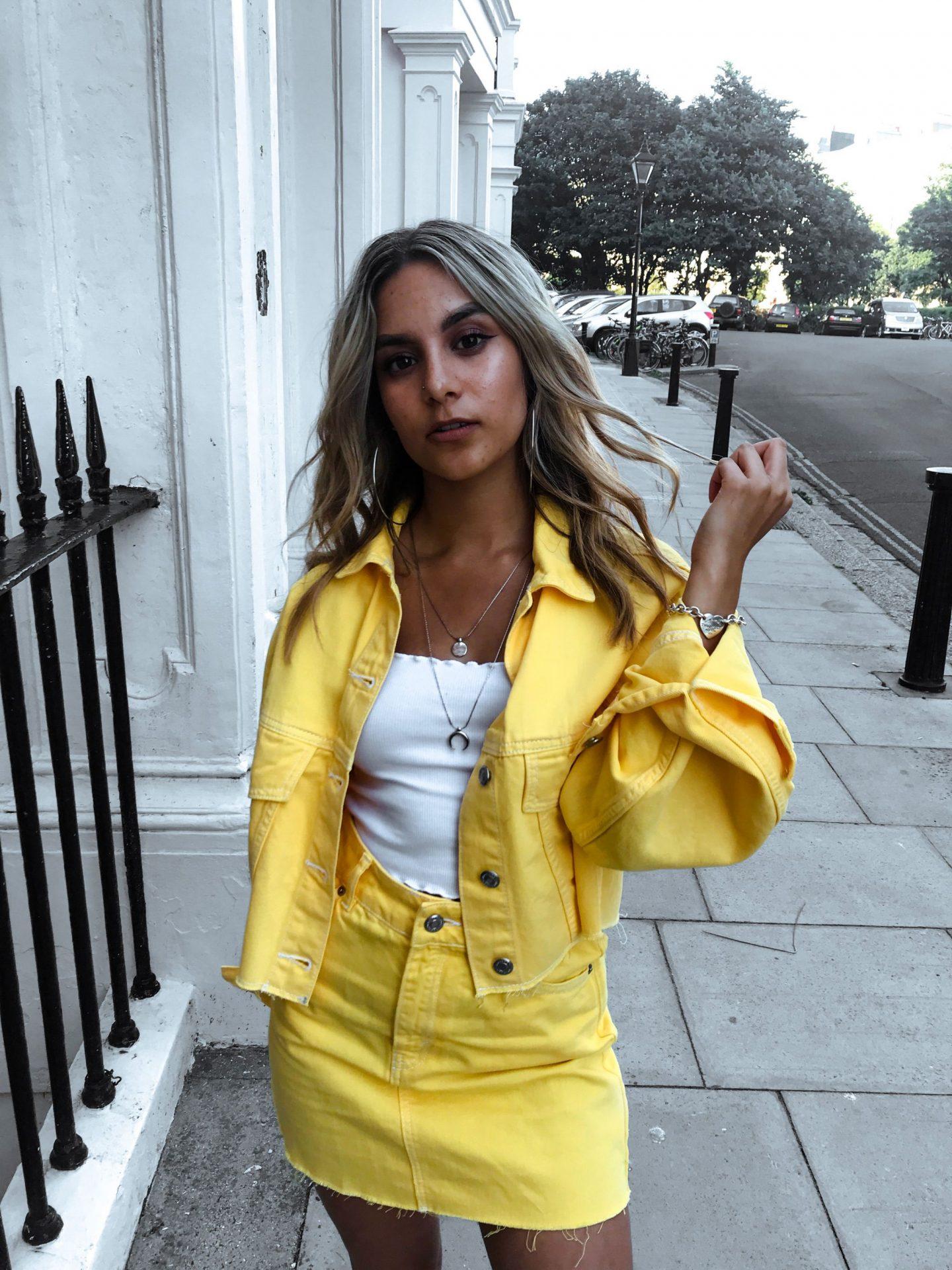 yasmin stefanie topshop yellow denim co ord ciara chunky trainers summer ss18 trends