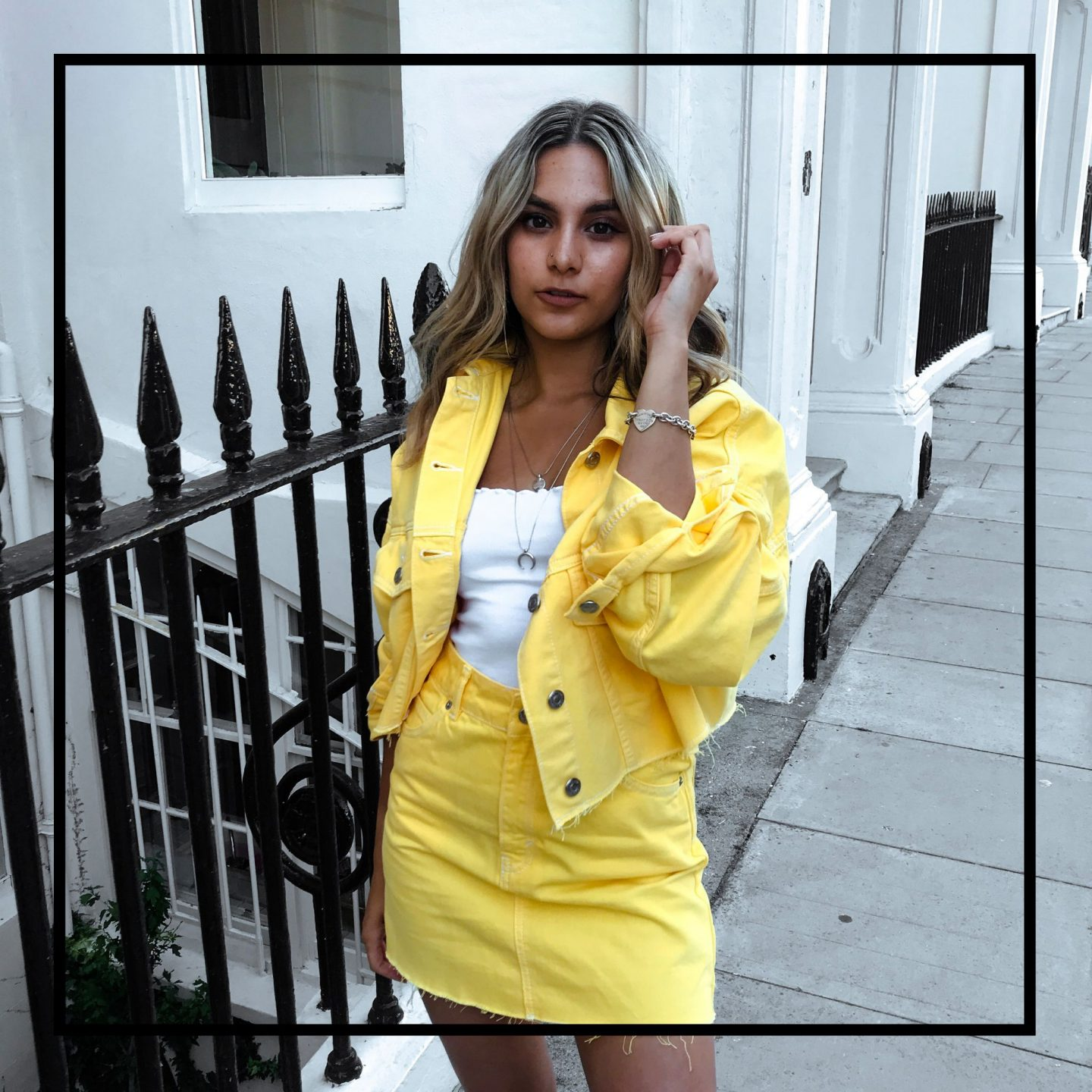 yasmin stefanie topshop yellow denim co ord ciara chunky trainers summer ss18 trends
