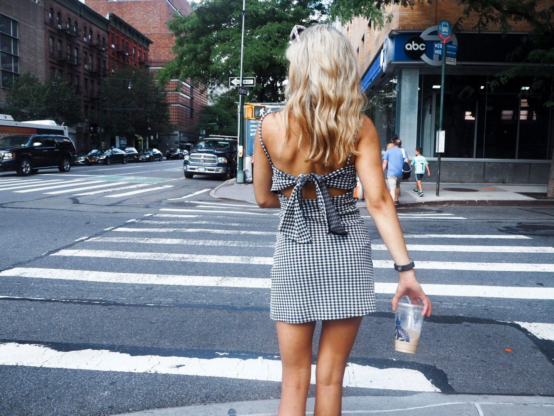 yasmin stefanie new york street style topshop gingham tie back slip pinafore dress