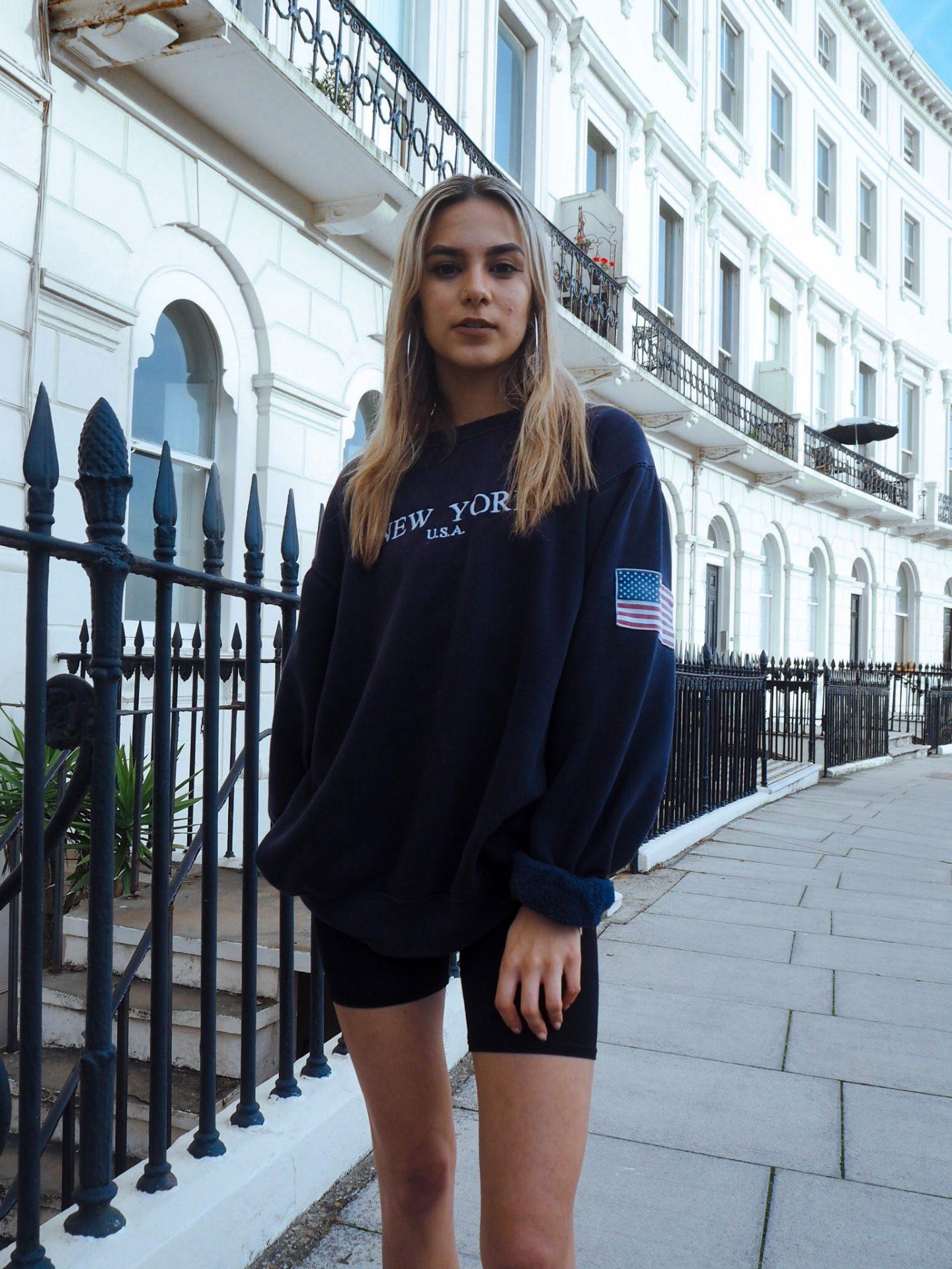 yasmin stefanie street style brandy melville erica sweatshirt pretty little thing cycling shorts