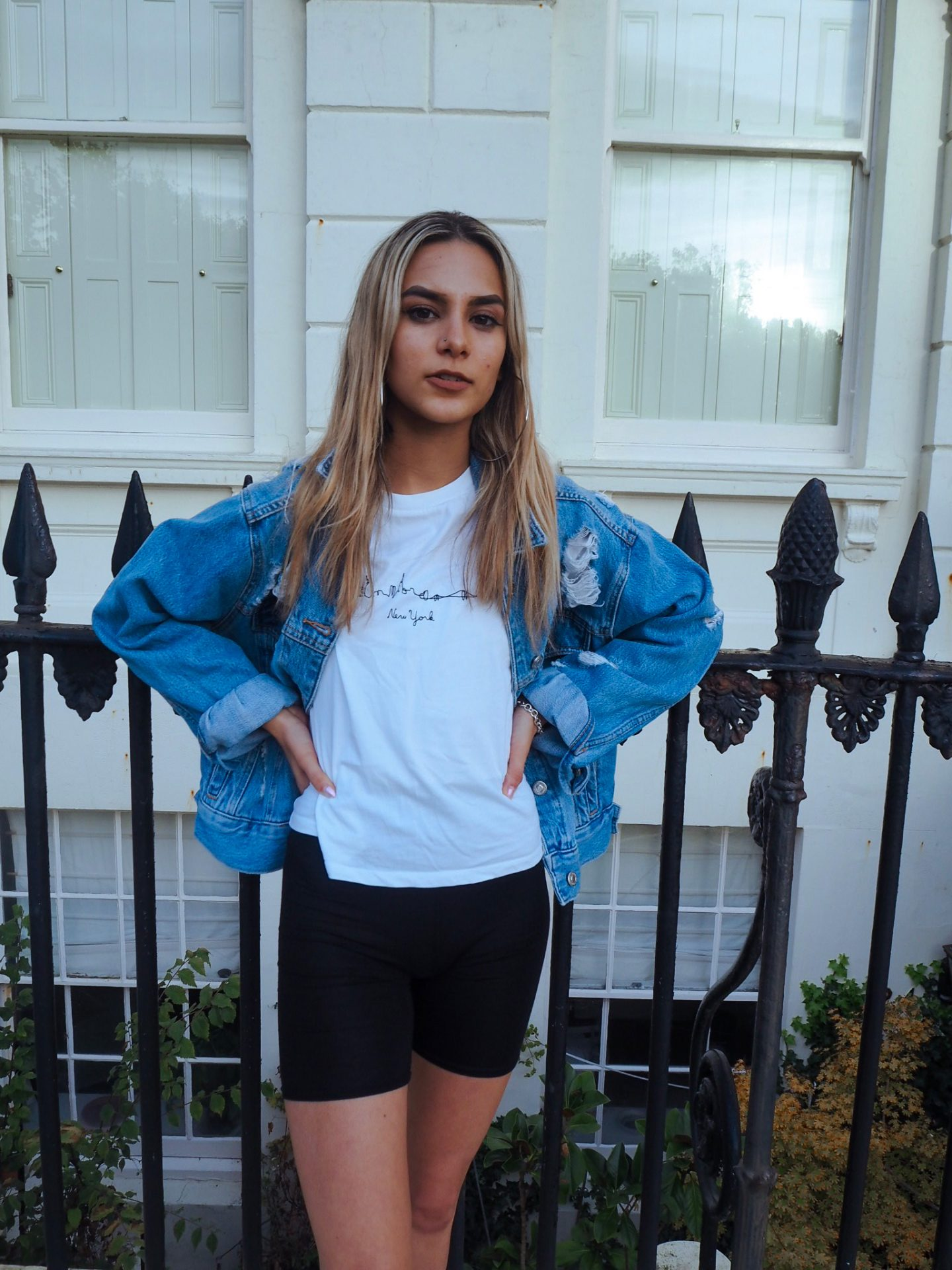 yasmin stefanie pretty little thing cycling shorts topshop denim jacket skyline t shirt chunky ciara trainers