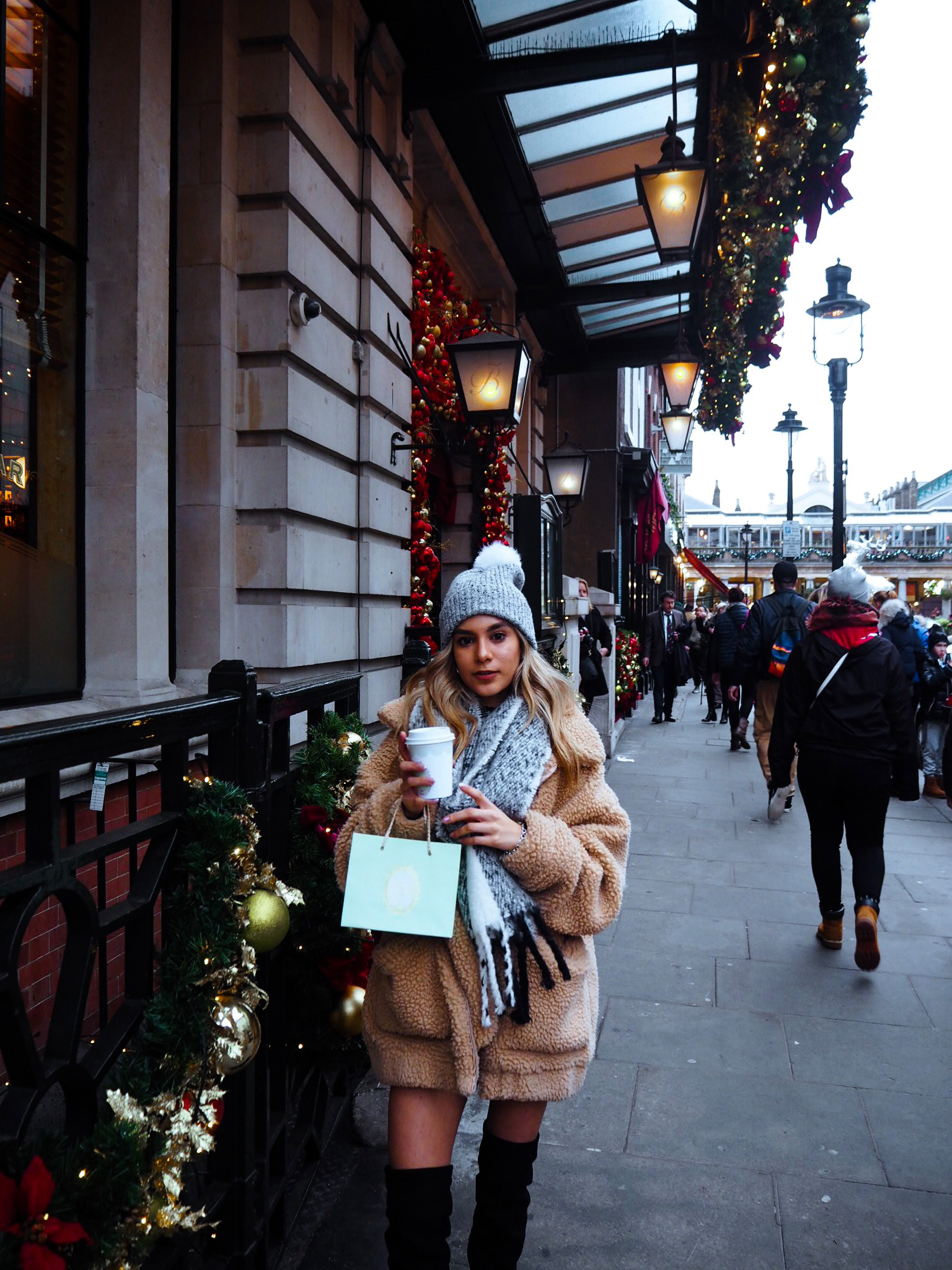yasmin stefanie festive christmas covent garden i am gia pixie coat