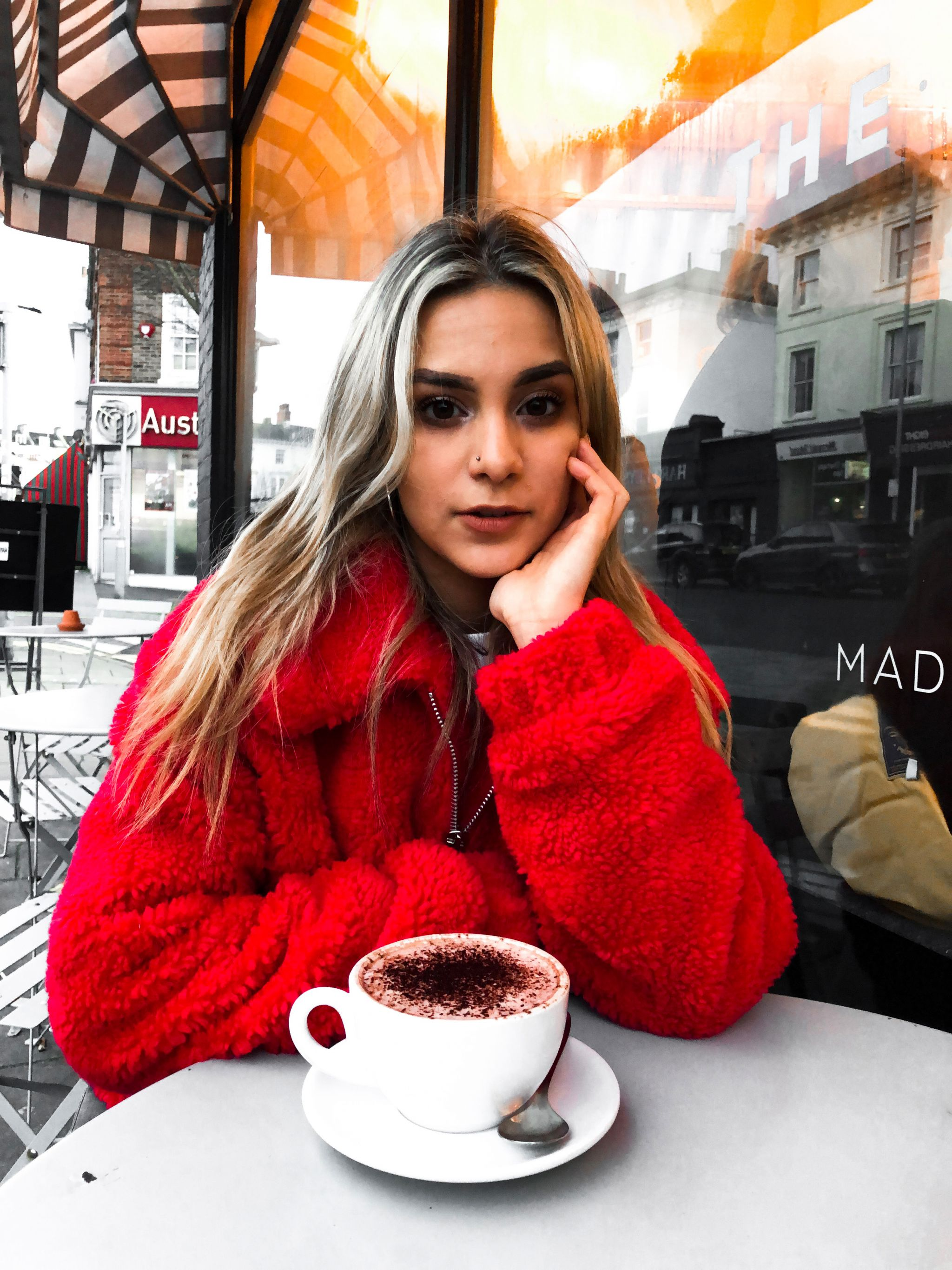 yasmin stefanie red teddy coat urban outfitters