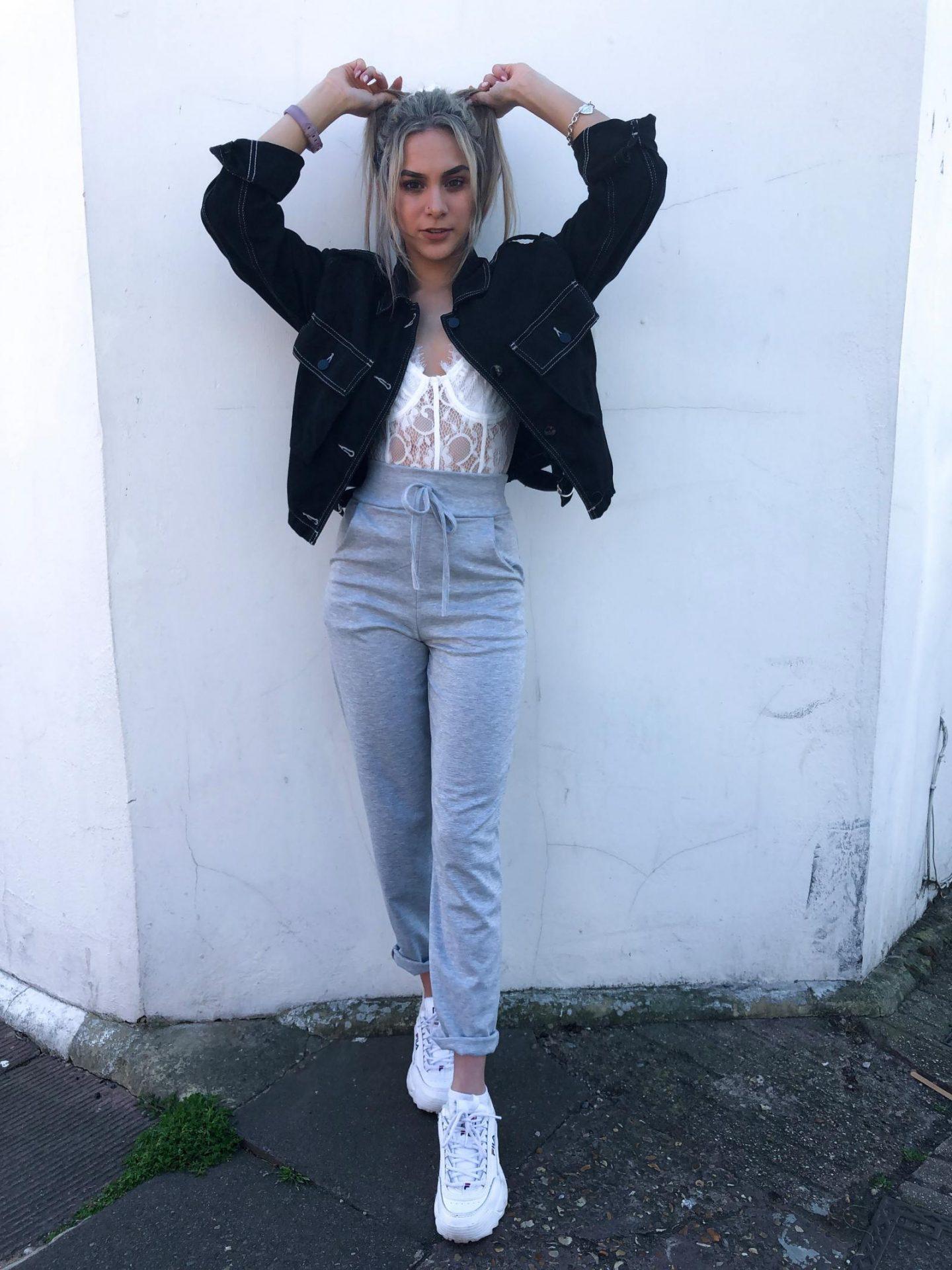 yasmin stefanie missguided plt white lace bodysuit grey joggers