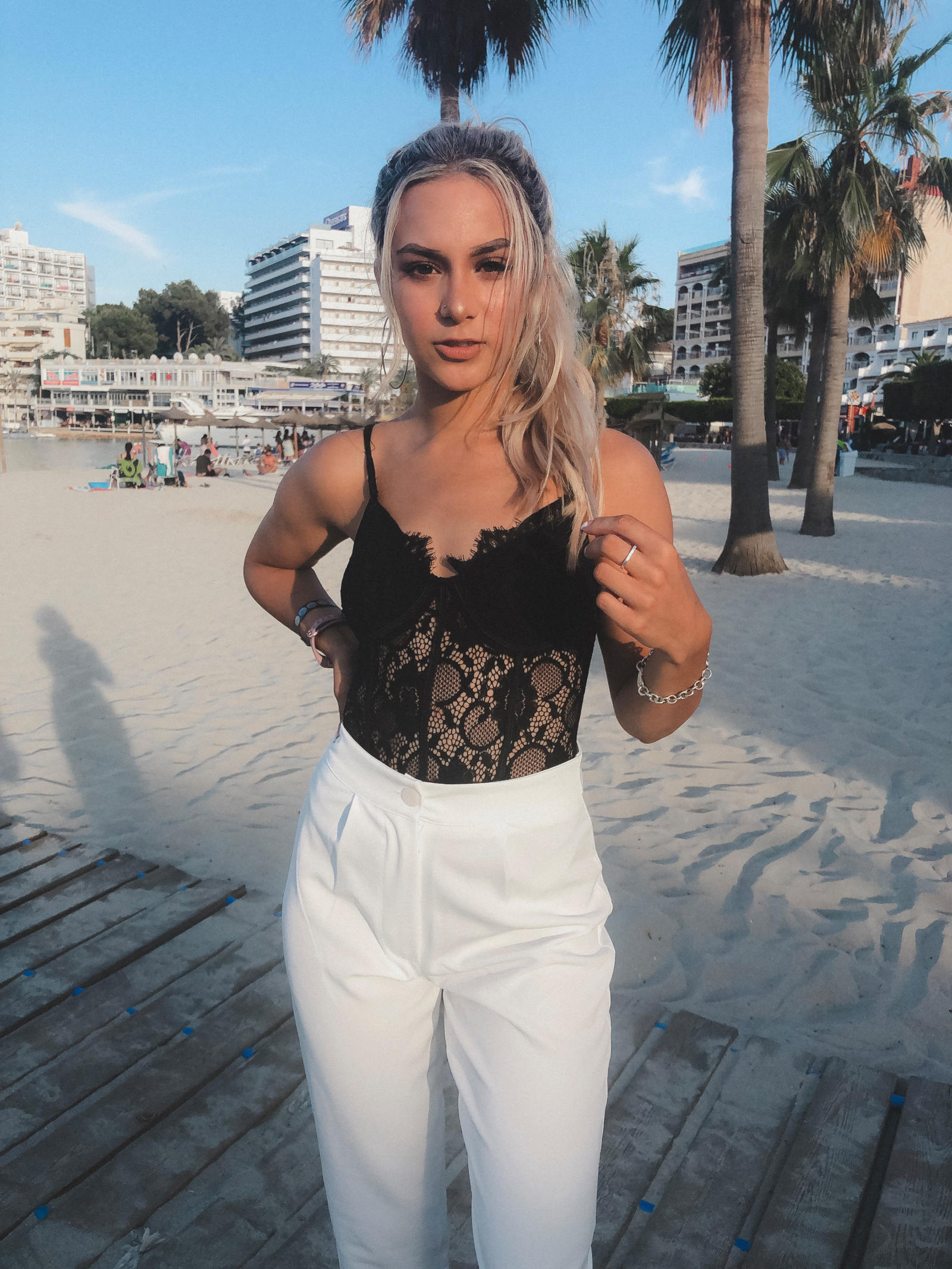 yasmin stefanie missguided black lace body boohoo white tailored trousers