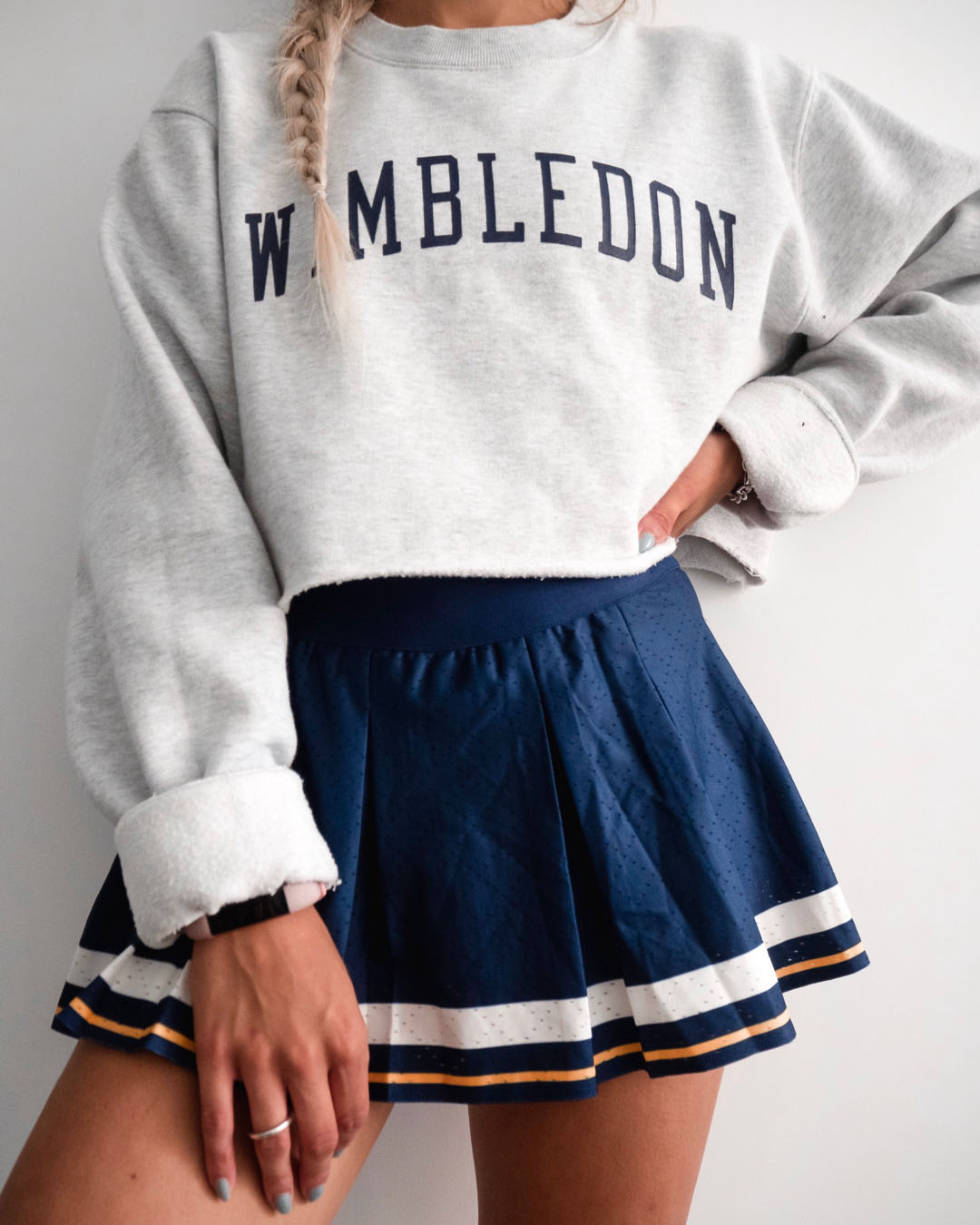 yasmin stefanie wimbledon slogan jumper tennis skirt style